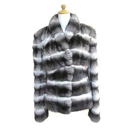 FENDI フェンディ 毛皮 コート グレー×ホワイト×ブラック 表地:素材表示無しの為、不明//裏地:シルク10