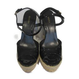 GUCCI Gucci Sandals Black Enamel x Cork [Used] [Rank B] ​​Ladies