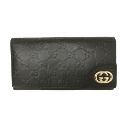 GUCCI Gucci L-type ZIP long wallet 204839 Black Gucci Shima [Used] [Rank A] Men / Women