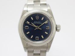 ROLEX ロレックス オイスター パーペチュアル レディースウォッチ 腕時計 67480 ブルー ステンレススチ