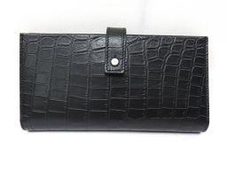 SAINT LAURENT サン・ローラン 2つ折長財布 ブラック 型押しクロコ 【新品】 メンズ