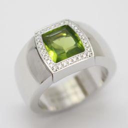 Cartier カルティエ ラドーニャ ぺリドット ダイヤモンド リング 指輪 グリーン×クリアー K18WG(7
