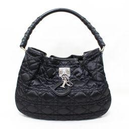 Dior クリスチャン・ディオール カナージュ ショルダーバッグ 07-B0-0048 ブラック ナイロン ×レザ
