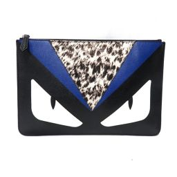 FENDI Fendi Monster Bugs Eye Clutch Bag Second bag 7N0078 Black Leather (calf