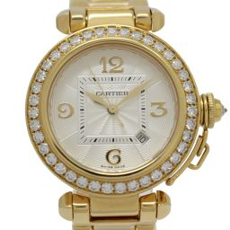 Cartier カルティエ パシャ32mm ダイヤモンドベゼル レディースウォッチ 腕時計 ゴールド K18YG(