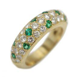 Cartier カルティエ エメラルド/ダイヤモンド ミミリング 指輪 グリーン×クリアー K18YG(750)