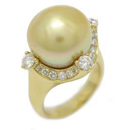 JEWELRY ジュエリー パール ダイヤモンド リング 指輪 ホワイト×クリアー K18YG(750) イエロー