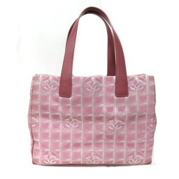 CHANEL Chanel New Travel Line Tote MM Tote Bag Pink Canvas [Used] [Rank B] Les