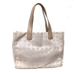 CHANEL Chanel New Travel Line Tote MM Tote Bag Beige Canvas / Calf [Used] [La