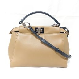 FENDI Mini Peekaboo 2WAY Shoulder Bag 8BN244 Light Brown / Navy Cowhide