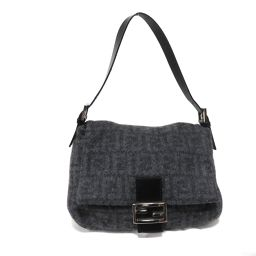 FENDI Fendi Mamma Bucket Shoulder Bag 2308.26325 Gray Leather / Cashmere 100%