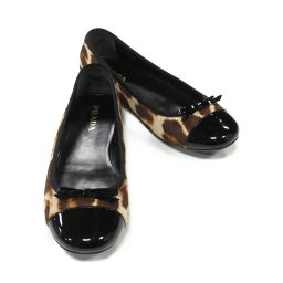 PRADA Prada Flat Shoes Brown x Black Harako x Enamel [Used] [Rank A] Ladies