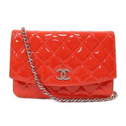 CHANEL Chanel Matrasse Chain Wallet Shoulder Bag A48692 Red x Silver Hardware Ena