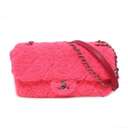 CHANEL Chanel Pile Fabric Chain Shoulder Bag (`18-19) Neon Pink x Silver Hardware Pile