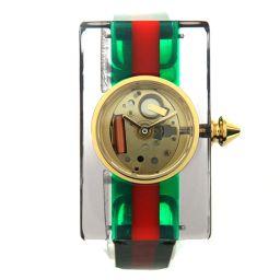 GUCCI グッチ ヴィンテージウェブ スケルトン レディース腕時計 YA143505 グリーン/レッド(グッチカ