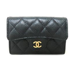 CHANEL Chanel Matrasse Caviar Skin Flap Card Case A80799 Black Caviar Skin