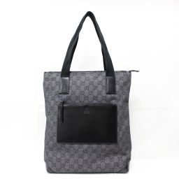 GUCCI Gucci GG Denim Canvas Tote Bag 28892 Black GG Denim Canvas × Leather [Used