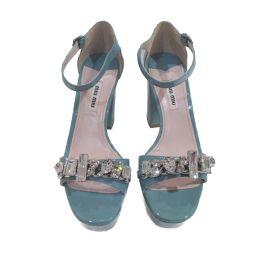 miu miu Miu Miu Sandals Light Blue Green Enamel [Used] [Rank A] Ladies