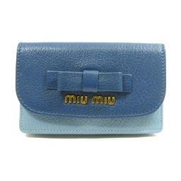 miu miu ミュウミュウ 名刺ケース カードケース 5M1122MADORAS ブルー レザー 【新品】 レデ