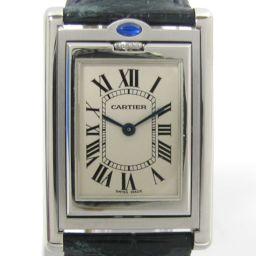 Cartier カルティエ タンク バスキュラント 腕時計 ウォッチ アイボリーXグリーン レザーベルト XSSス