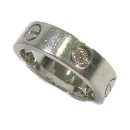 Cartier カルティエ ラブリングハーフダイヤ 指輪 シルバーXクリアー K18WG(750) ホワイトゴール