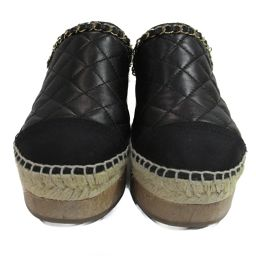 CHANEL Chanel Sabo Women's Shoes G33754Y50387 Black Sheep Leather (Lamb) [Used] [Run]