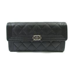 CHANEL Chanel ZIP wallet black leather [pre] [Rank A] Women