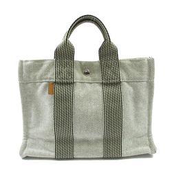 HERMES Hermes New Fool Tote Tote PM Handbag Gray Canvas [Used] [Rank A] Lady