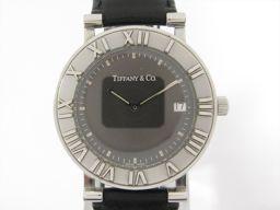 TIFFANY&CO ティファニー アトラス 腕時計 ウォッチ ブラック ステンレススチール(SS) xレザーバル