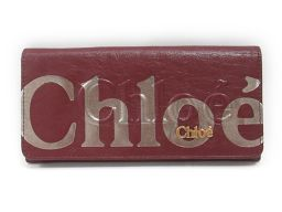 Chloe クロエ 二つ折り長財布 ワインレッド レザー 【中古】【ランクA】 レディース