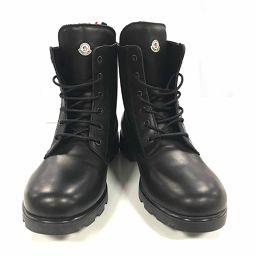 MONCLER モンクレール レザーブーツ 靴 ブラック レザー 【中古】【ランクA】 メンズ