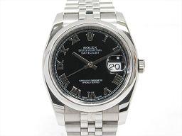 ROLEX ロレックス デイトジャスト 腕時計 ウォッチ 116200 ブラック ステンレススチール(SS) 【中