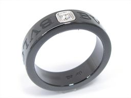 BVLGARI ブルガリ ダブルロゴリング 指輪 クリアー K18WG(750) ホワイトゴールド xブラックセラ