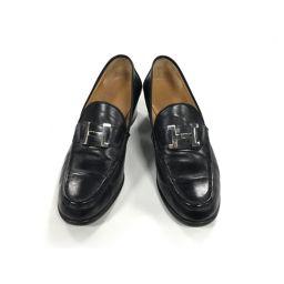 HERMES エルメス コンスタンスヒールローファー 靴 ブラック(金具:シルバー) レザー 【中古】【ランクB】