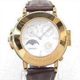 SEIKO セイコー プレサージュ 腕時計 ウォッチ 7F38-9A00 ホワイト メタルxレザーベルト 【中古】