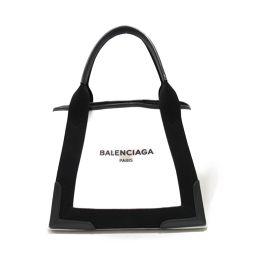 BALENCIAGA バレンシアガ カバスS トートバッグ 339933 ブラック×アイボリー キャンバス ×レザ