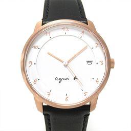 agnes b . アニエス・ベー 腕時計 ウォッチ ホワイト ステンレススチール(SS) xレザーベルト 【中古