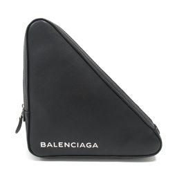 BALENCIAGA バレンシアガ トライアングル クラッチバッグ ブラック レザー 【中古】【ランクA】 メンズ