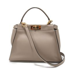 FENDI Fendy Peekaboo 2way handbag 8BN290 Gurege leather [pre] [Rank A]