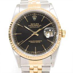 ROLEX ロレックス デイトジャスト 腕時計 ウォッチ 16233 ブラック ステンレススチール(SS) xK1