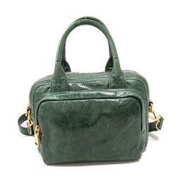 PRADA Prada 2way handbag BN 2010 green leather [pre-owned] [rank B] ​​Men / Women