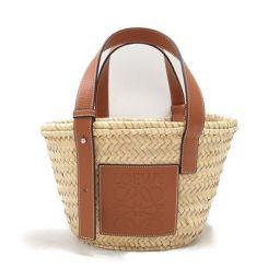 LOEWE Loewe Basket Tote Bag Small 327.02.S93 Natural x Brown Palm Leaf x