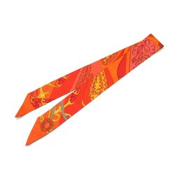 HERMES エルメス トゥイリー ツイリー スカーフ オレンジ系 シルク 【中古】【ランクA】 レディース