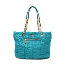 PRADA Prada chain tote bag BR4383 TURCHESE (turquoise) nylon x leather [used