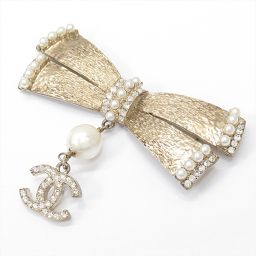 CHANEL Chanel Brooch 06P Gold GPx Fake Pearl x Rhinestone [Used] [Rank A] Les