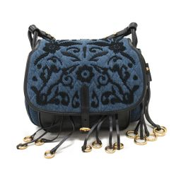 PRADA Prada denim shoulder bag 1BD050 Blue x Black Denim x Leather [Used] [Rank A]