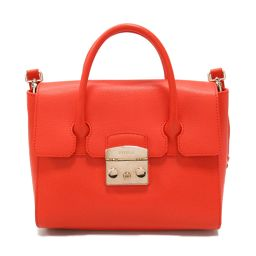 FURLA Furura Metropolis 2way Handbag Red Leather [Used] [Rank A] Ladies