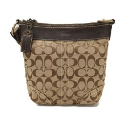 COACH coach shoulder bag 10402 brown x beige leather x canvas [pre-owned] [rank C]