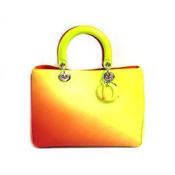 Dior クリスチャン・ディオール 2way ハンドバッグ トートバッグ 17-BO-1113 イエロー×オレンジ