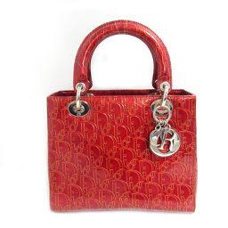 Dior クリスチャン・ディオール レディーディオールハンドバッグ メタリックレッド パテントレザー 【中古】【ラ